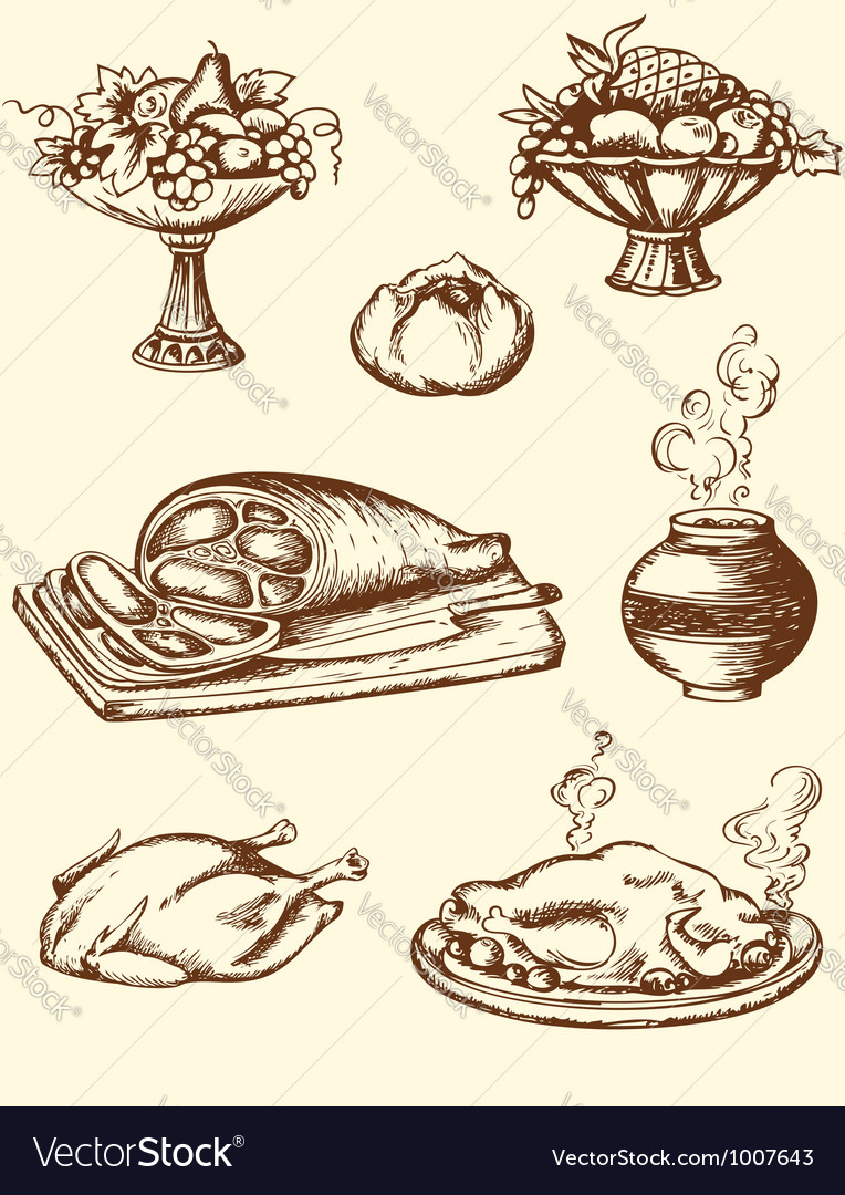 Drawing vintage food vector | Price: 1 Credit (USD $1)