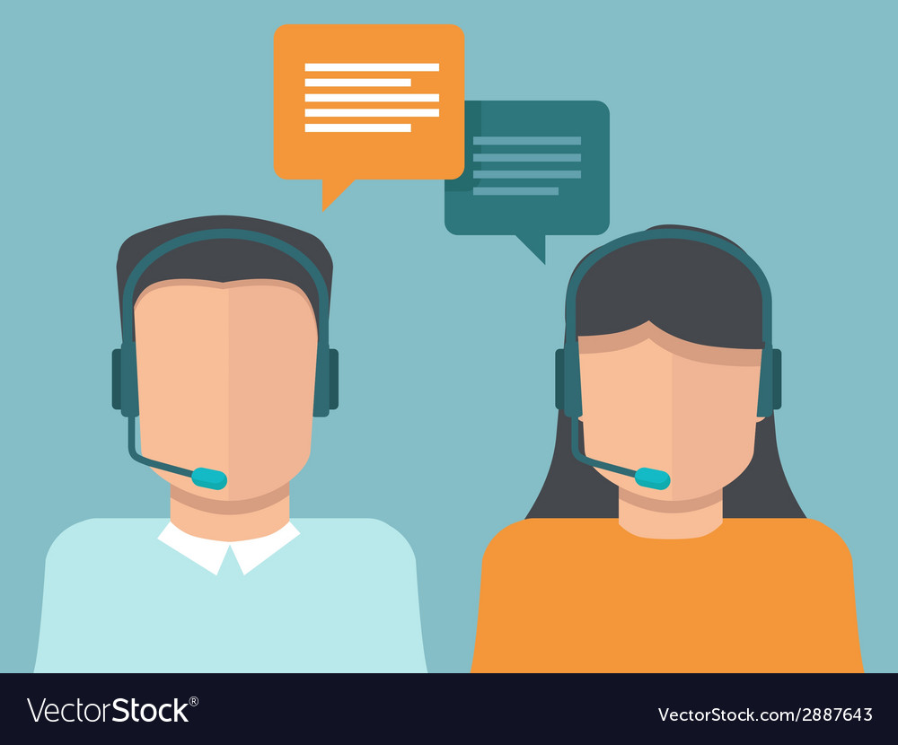 Flat call center operators vector | Price: 1 Credit (USD $1)