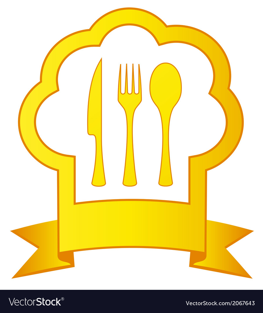 Gold icon with chef hat and kitchen utensil vector | Price: 1 Credit (USD $1)