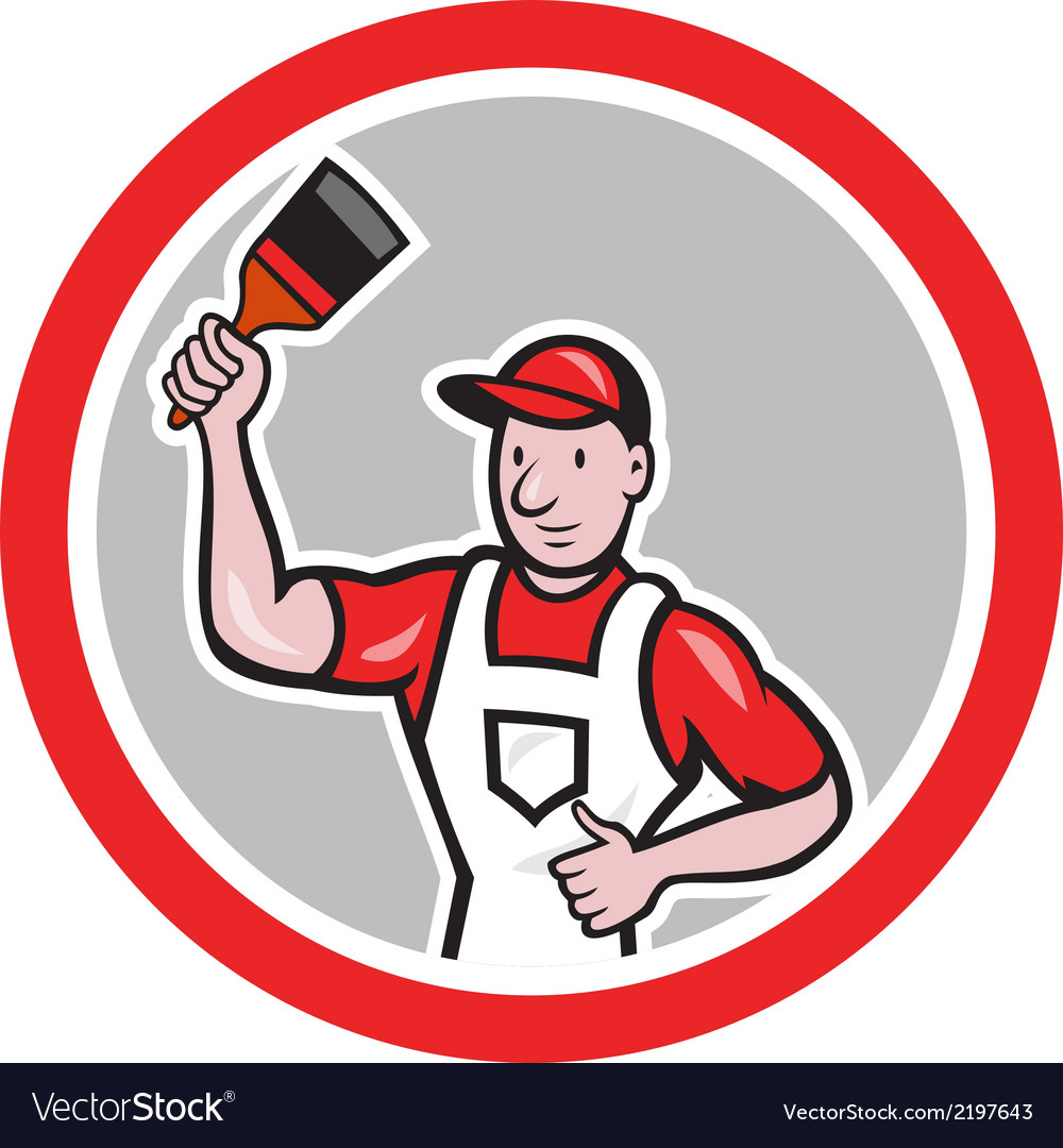 House painter holding paintbrush circle cartoon vector | Price: 1 Credit (USD $1)