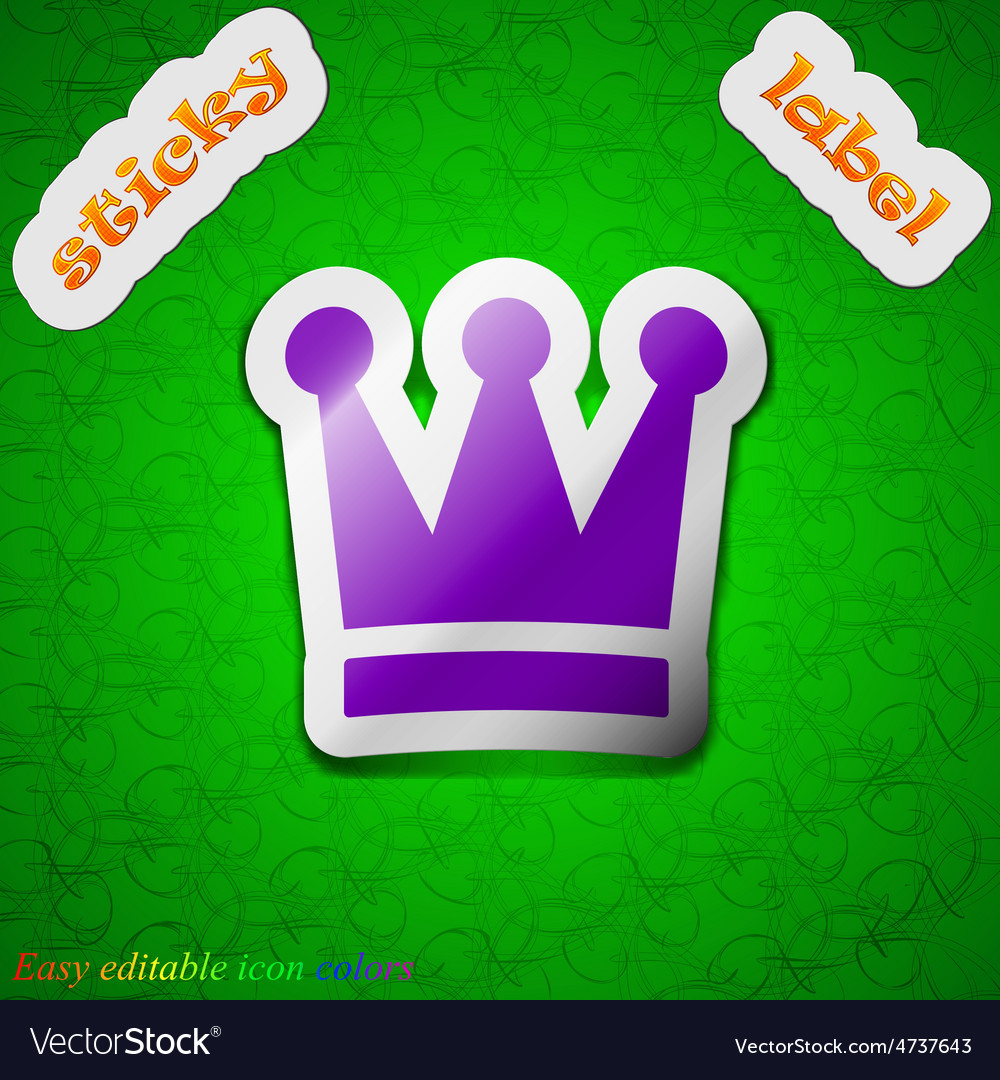 King crown icon sign symbol chic colored sticky vector | Price: 1 Credit (USD $1)