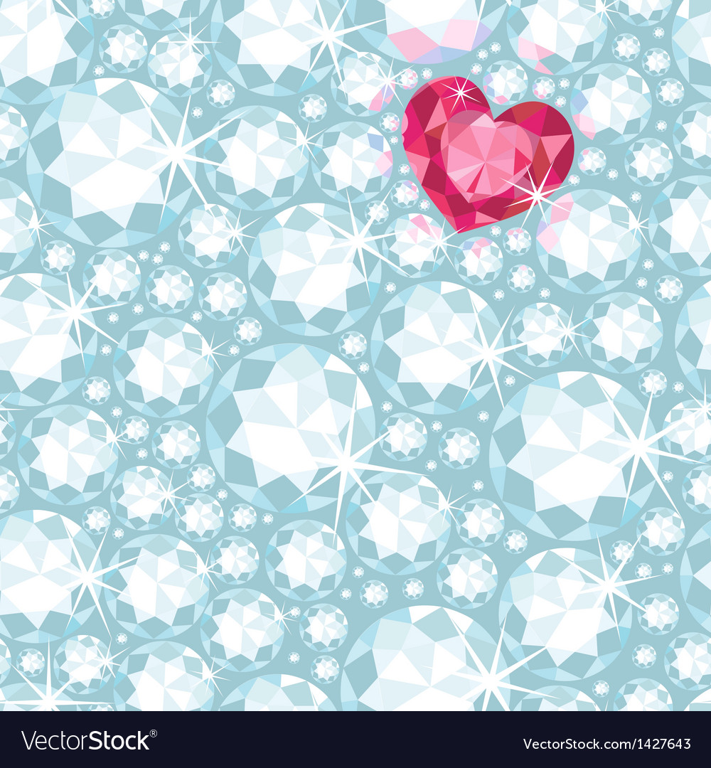 Ruby heart among diamonds seamless pattern vector | Price: 1 Credit (USD $1)