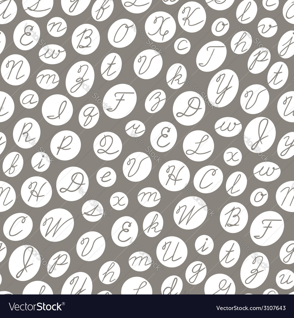 Seamless pattern with english cursive letters vector | Price: 1 Credit (USD $1)