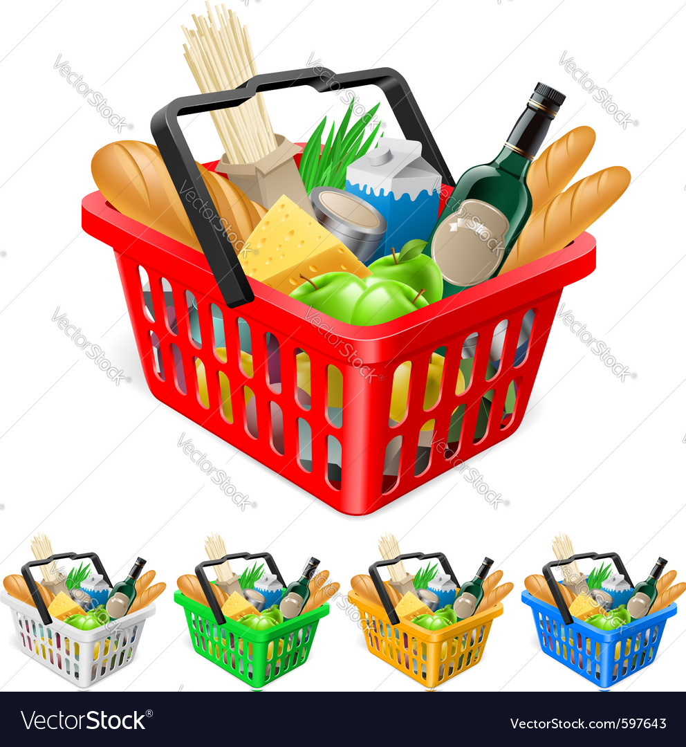 Shopping basket with foods vector | Price: 3 Credit (USD $3)
