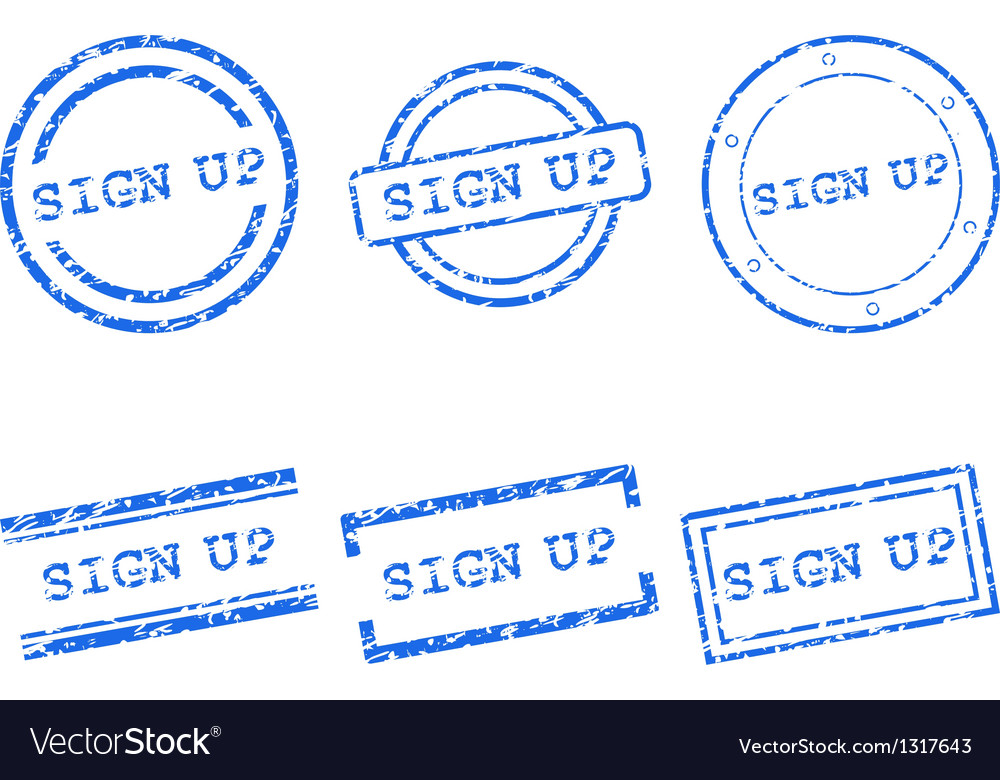 Sign up stamp vector | Price: 1 Credit (USD $1)