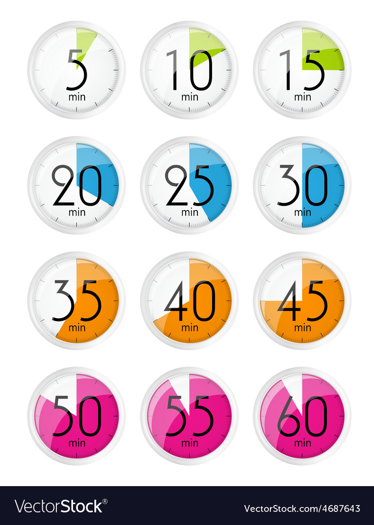 Silver watch designation minutes vector