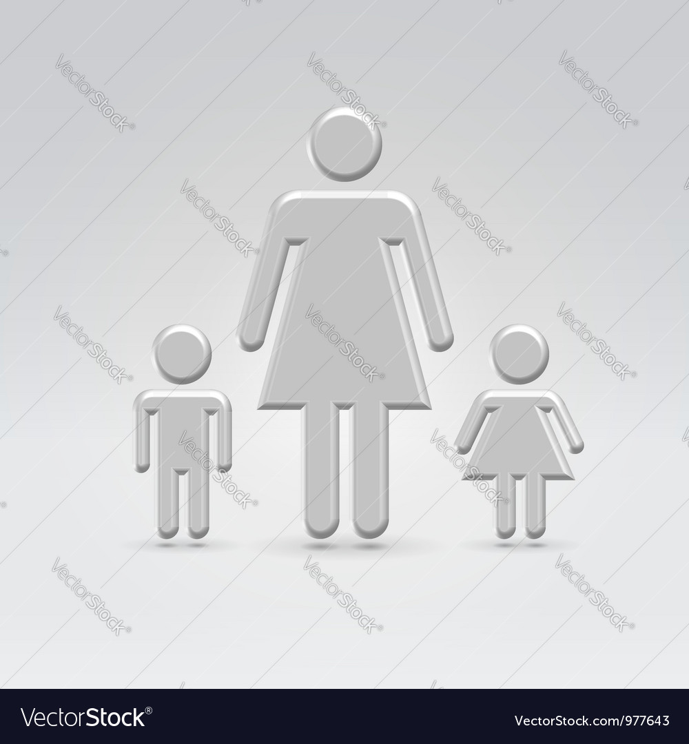 Stick mom with children vector | Price:  Credit (USD $)
