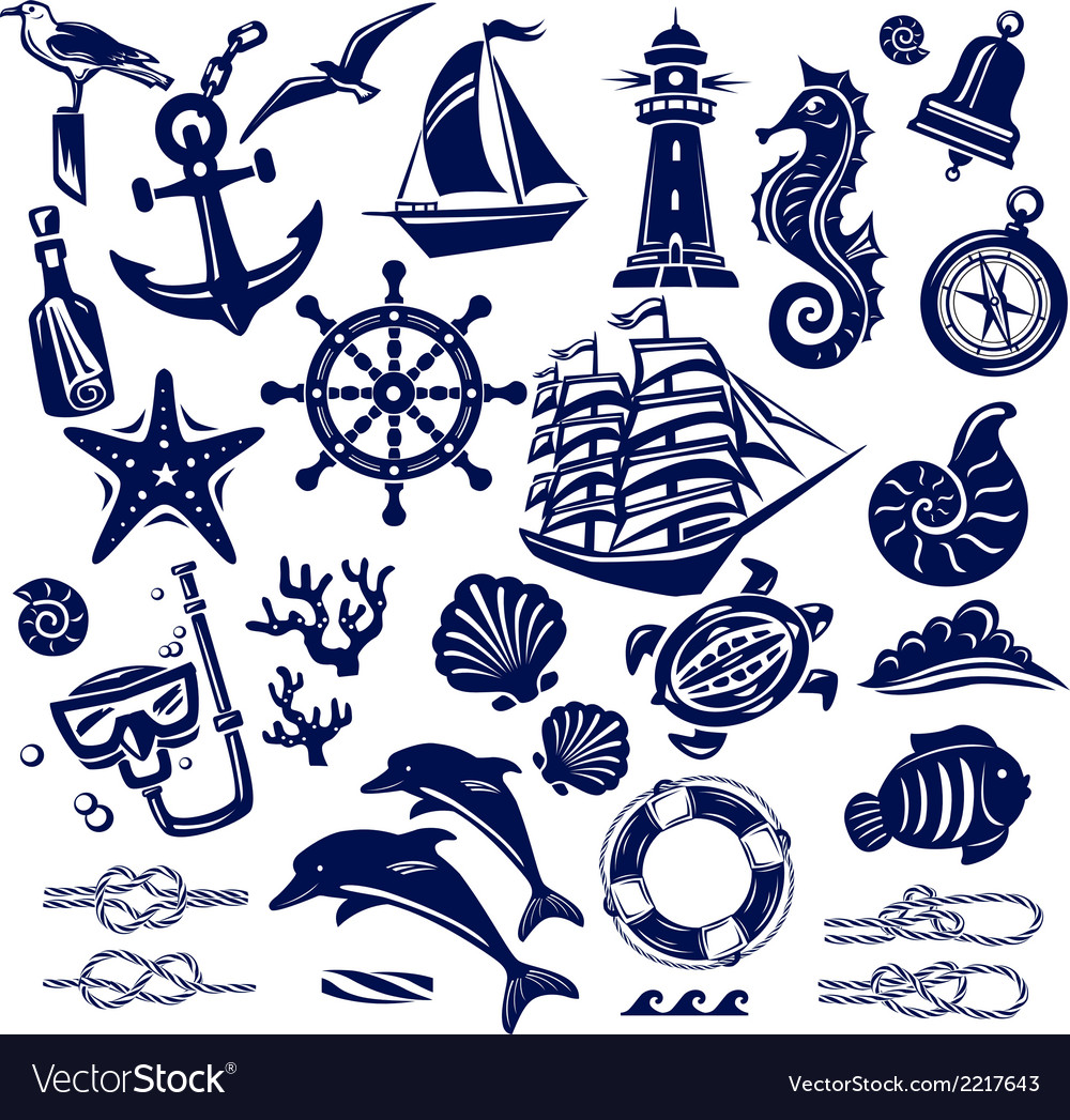 Summer sea icons vector