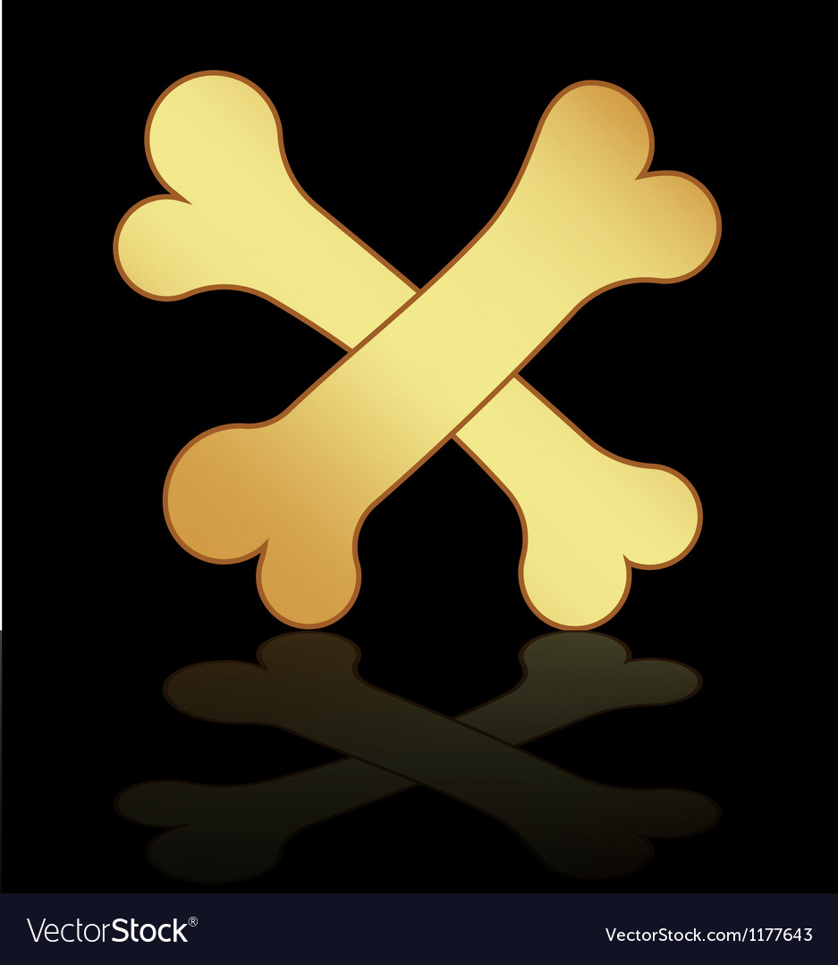 Two gold bones on a black background vector | Price: 1 Credit (USD $1)