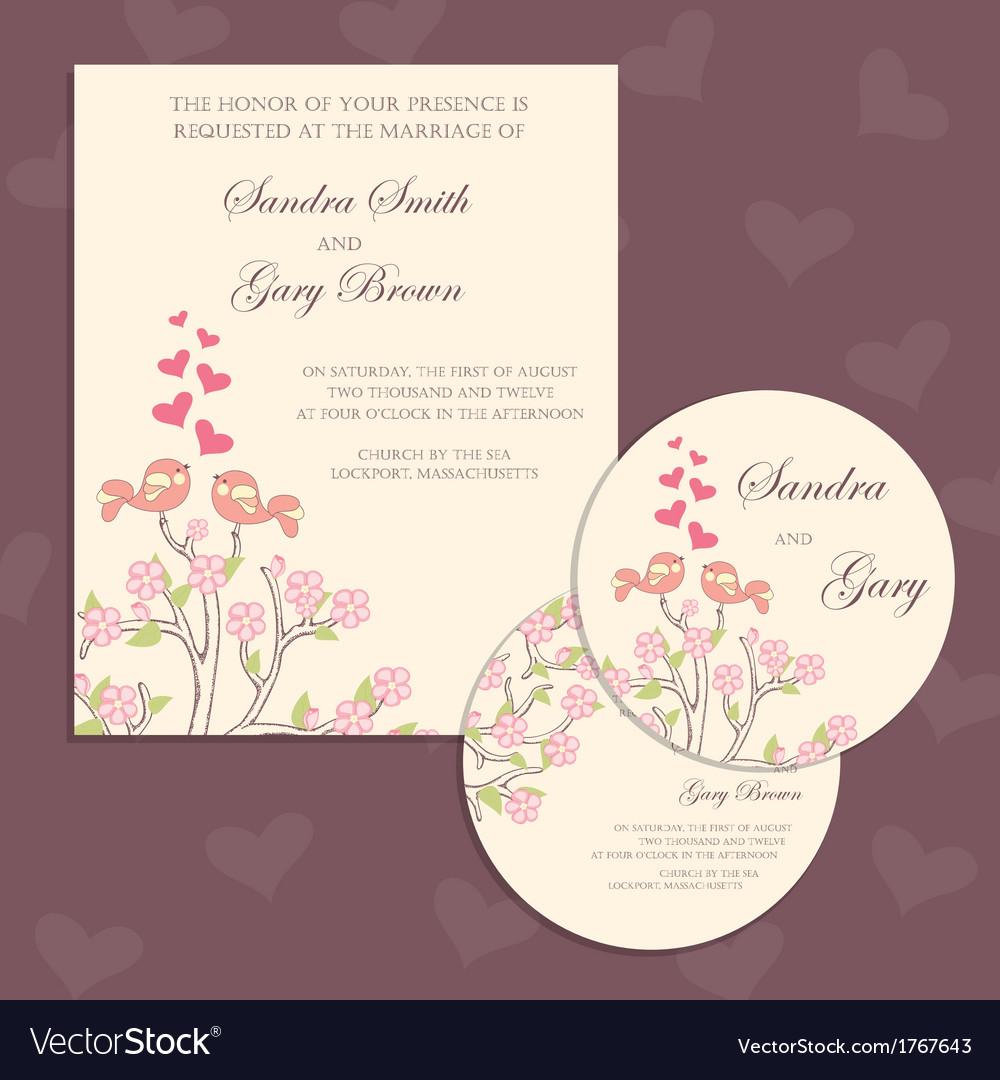 Wedding cards with birds vector | Price: 1 Credit (USD $1)
