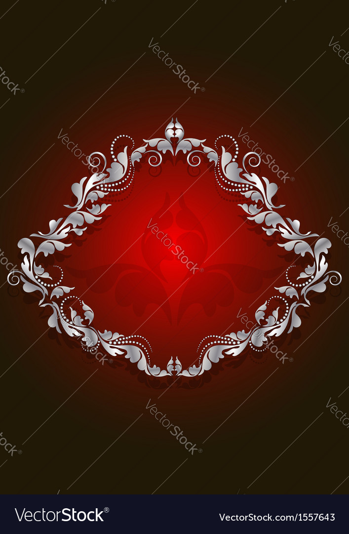 White vintage frame on the brilliant red backgroun vector | Price: 1 Credit (USD $1)