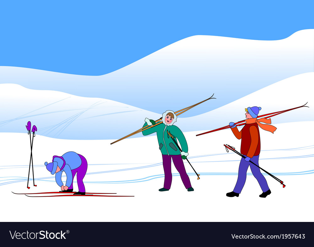 Young skiers in snow hills vector | Price: 1 Credit (USD $1)