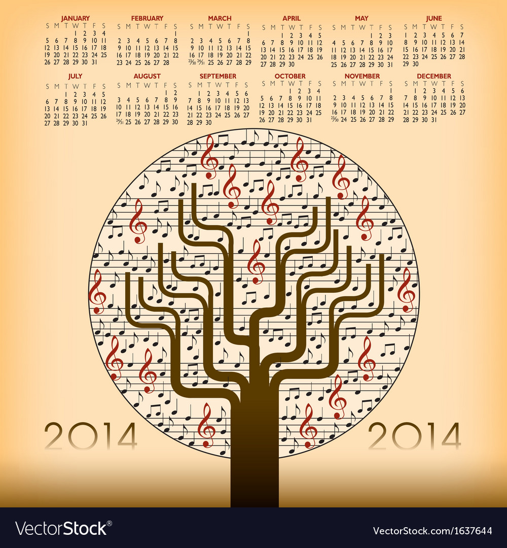 2014 music tree calendar vector | Price: 1 Credit (USD $1)