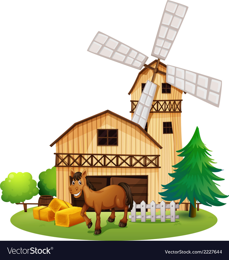 A horse outside the barnhouse at the farm vector | Price: 1 Credit (USD $1)
