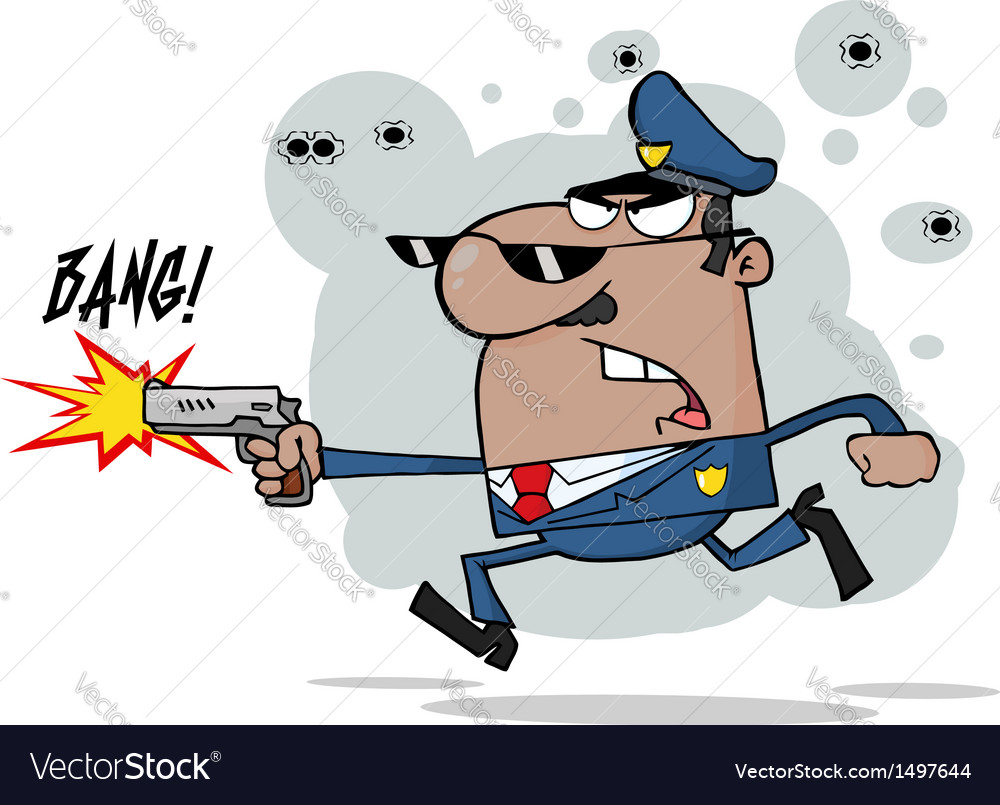 African american police man running with a gun vector | Price: 1 Credit (USD $1)