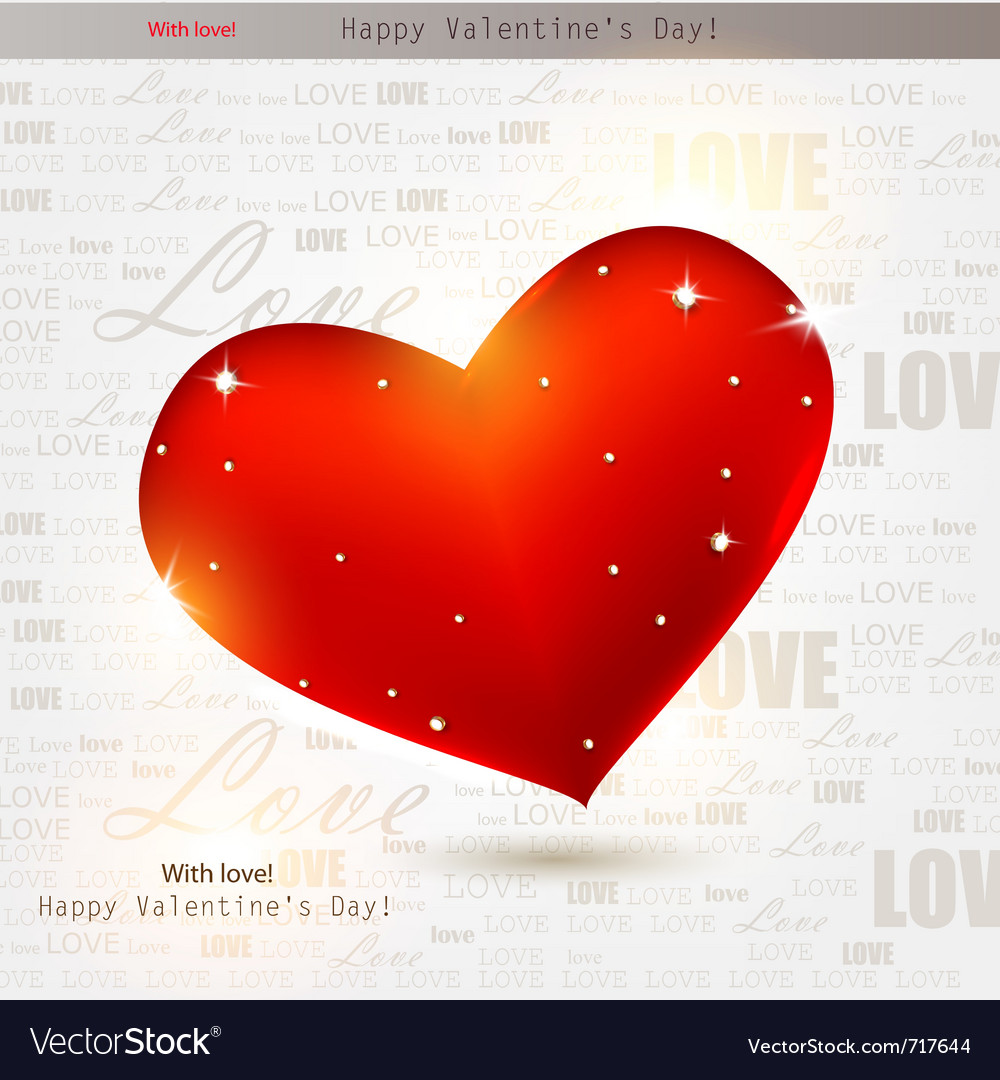 Beautiful red heart with diamonds valentines day b vector | Price: 1 Credit (USD $1)