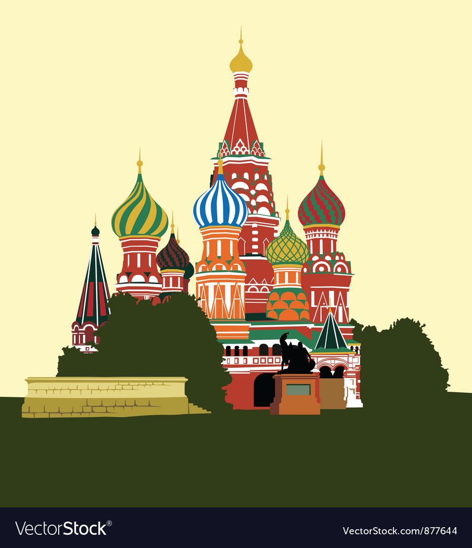 Cathedral on red square vector | Price: 3 Credit (USD $3)
