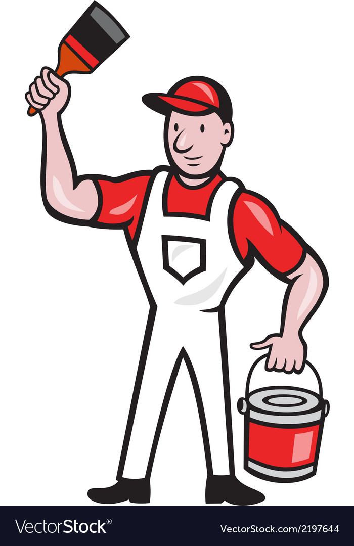 House painter holding paint can paintbrush cartoon vector | Price: 1 Credit (USD $1)