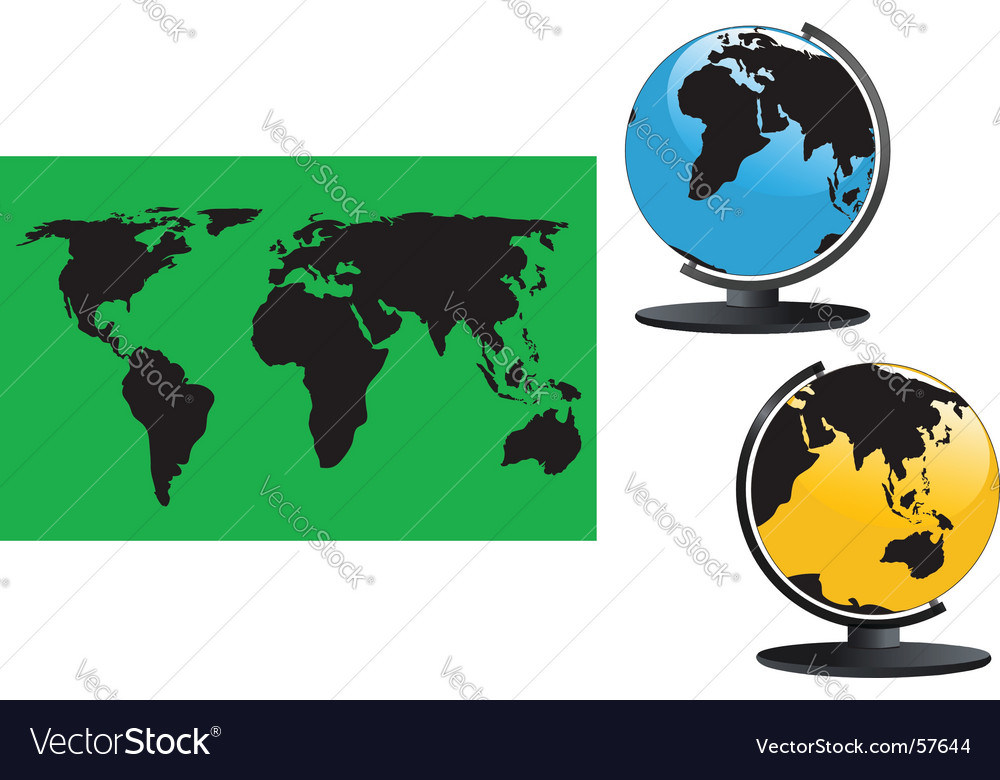 Map and globes vector | Price: 1 Credit (USD $1)