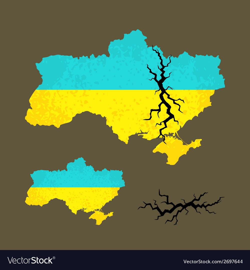 Map of ukraine with crack vector | Price: 1 Credit (USD $1)