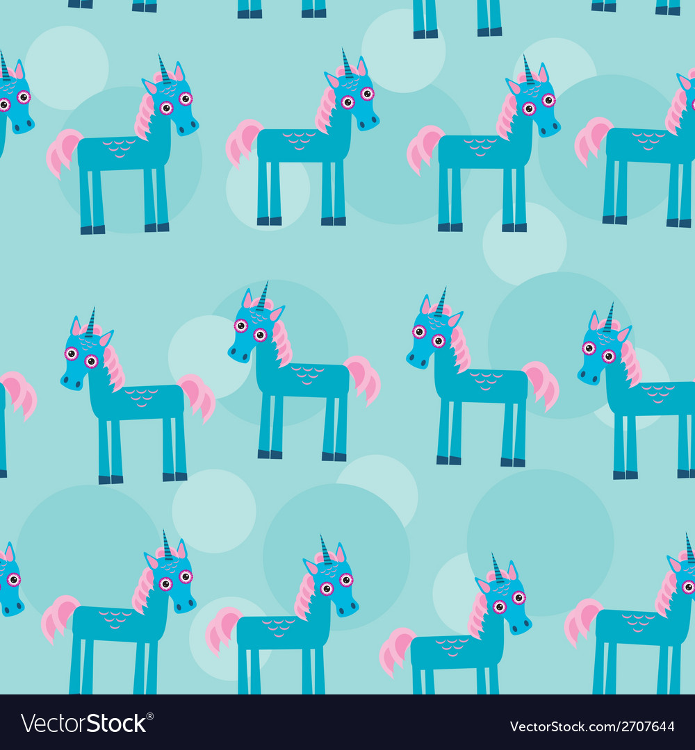Seamless pattern with funny cute unicorn animal on vector | Price: 1 Credit (USD $1)