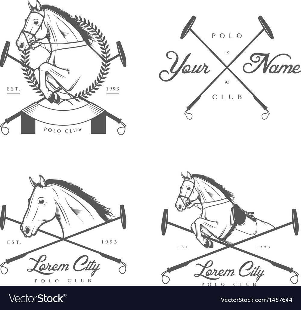 Set of vintage horse polo club labels and badges vector | Price: 3 Credit (USD $3)