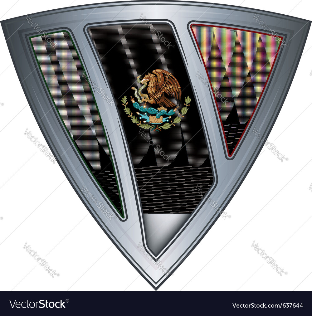 Steel shield with flag mexico vector | Price: 1 Credit (USD $1)