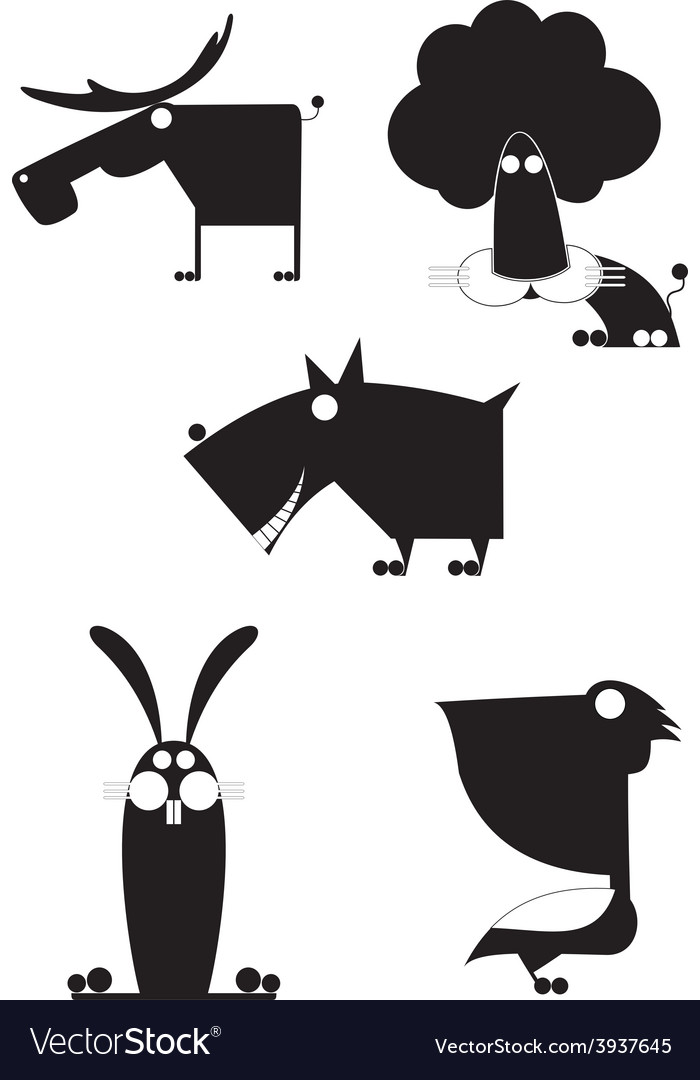 Art animal silhouettes collection vector | Price: 1 Credit (USD $1)
