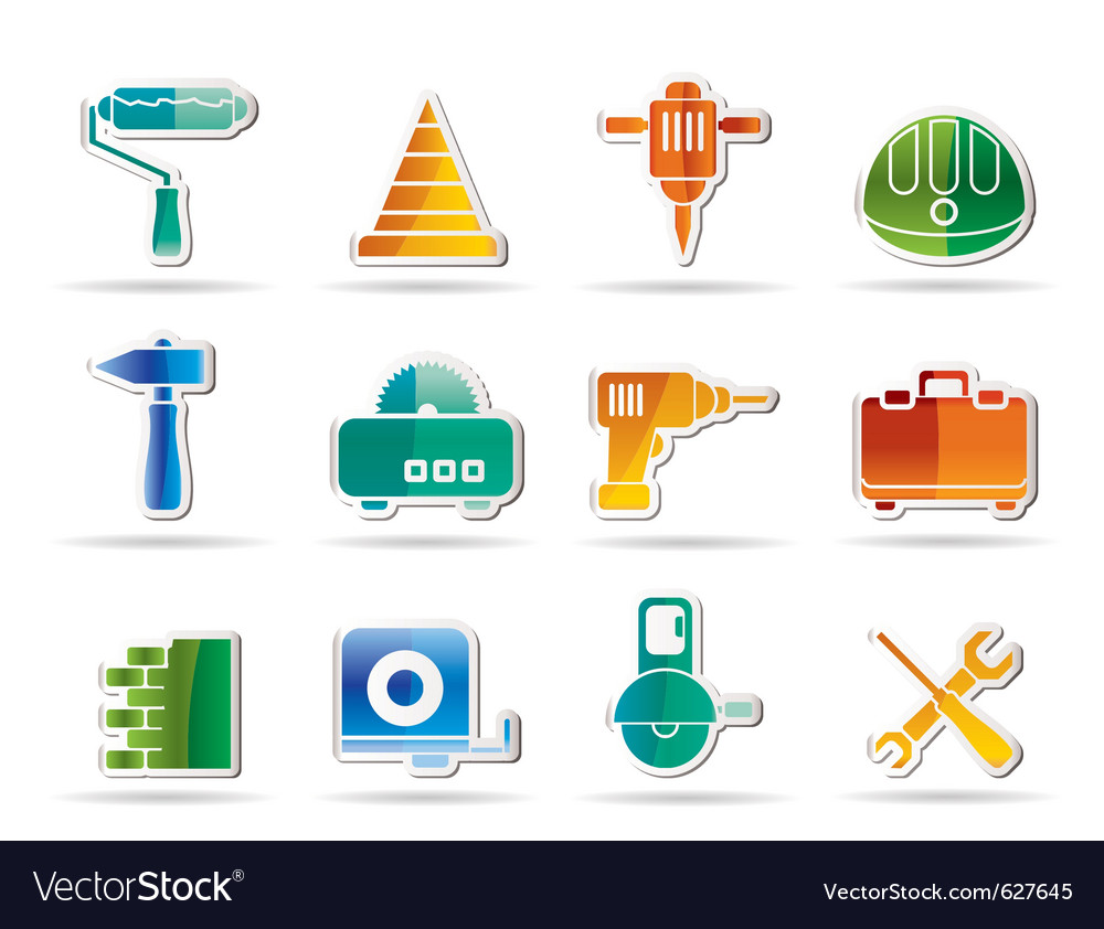 Building and construction tools icons - vector | Price: 1 Credit (USD $1)