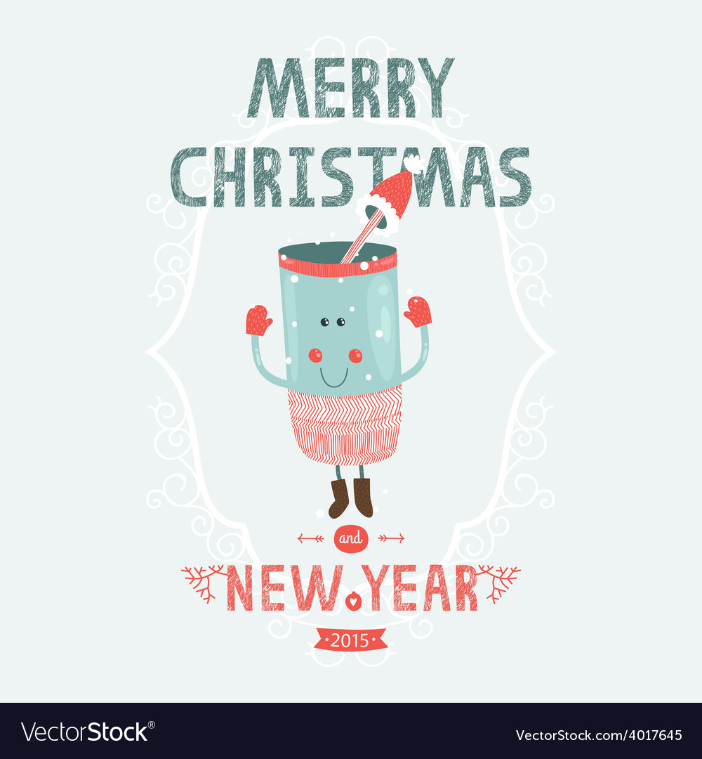 Christmas card with cute mug vector | Price: 1 Credit (USD $1)