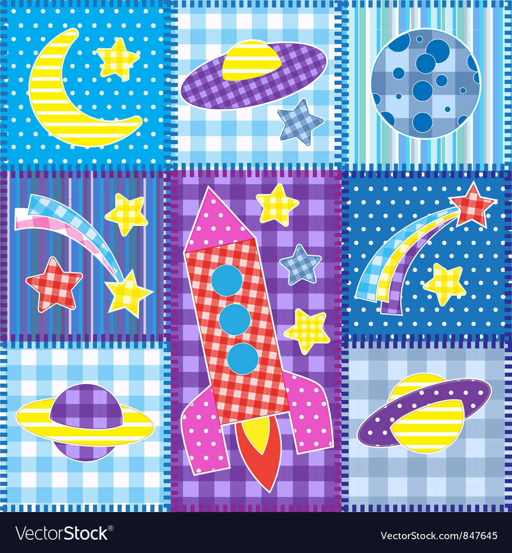 Colorful space patchwork vector | Price: 1 Credit (USD $1)