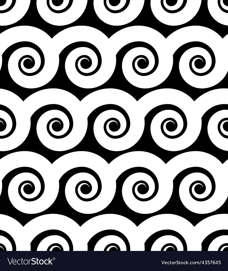 Curly waves seamless pattern black and white vector | Price: 1 Credit (USD $1)