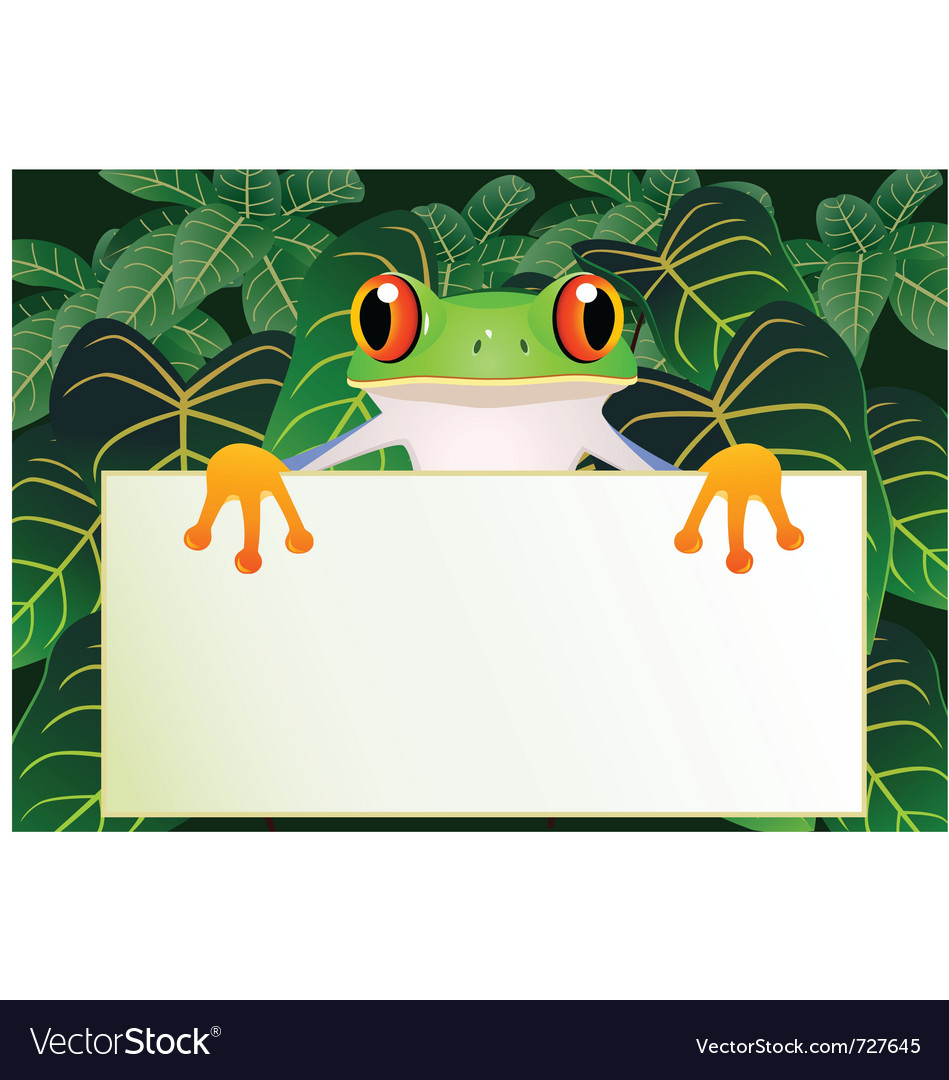 Frog cartoon with blank sign vector | Price: 1 Credit (USD $1)