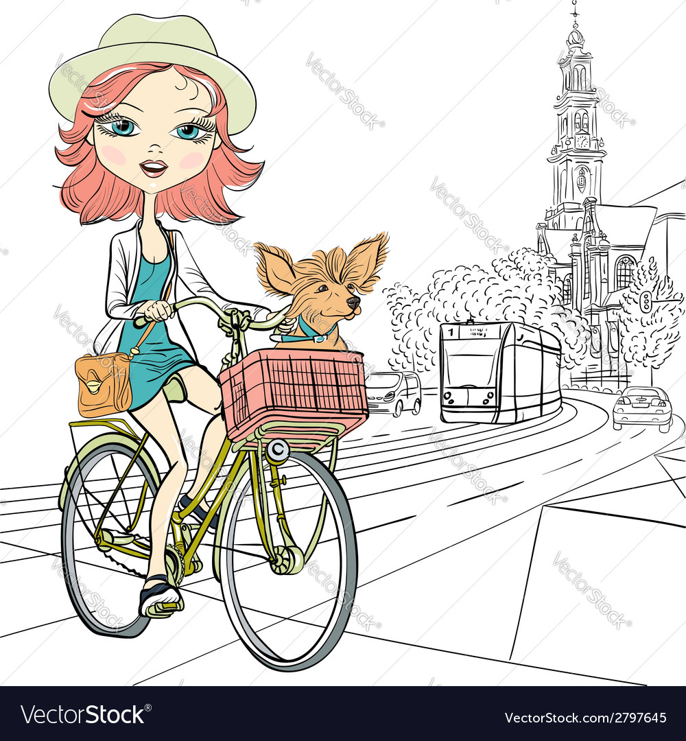 Girl with dog rides a bike in amsterdam vector | Price: 1 Credit (USD $1)