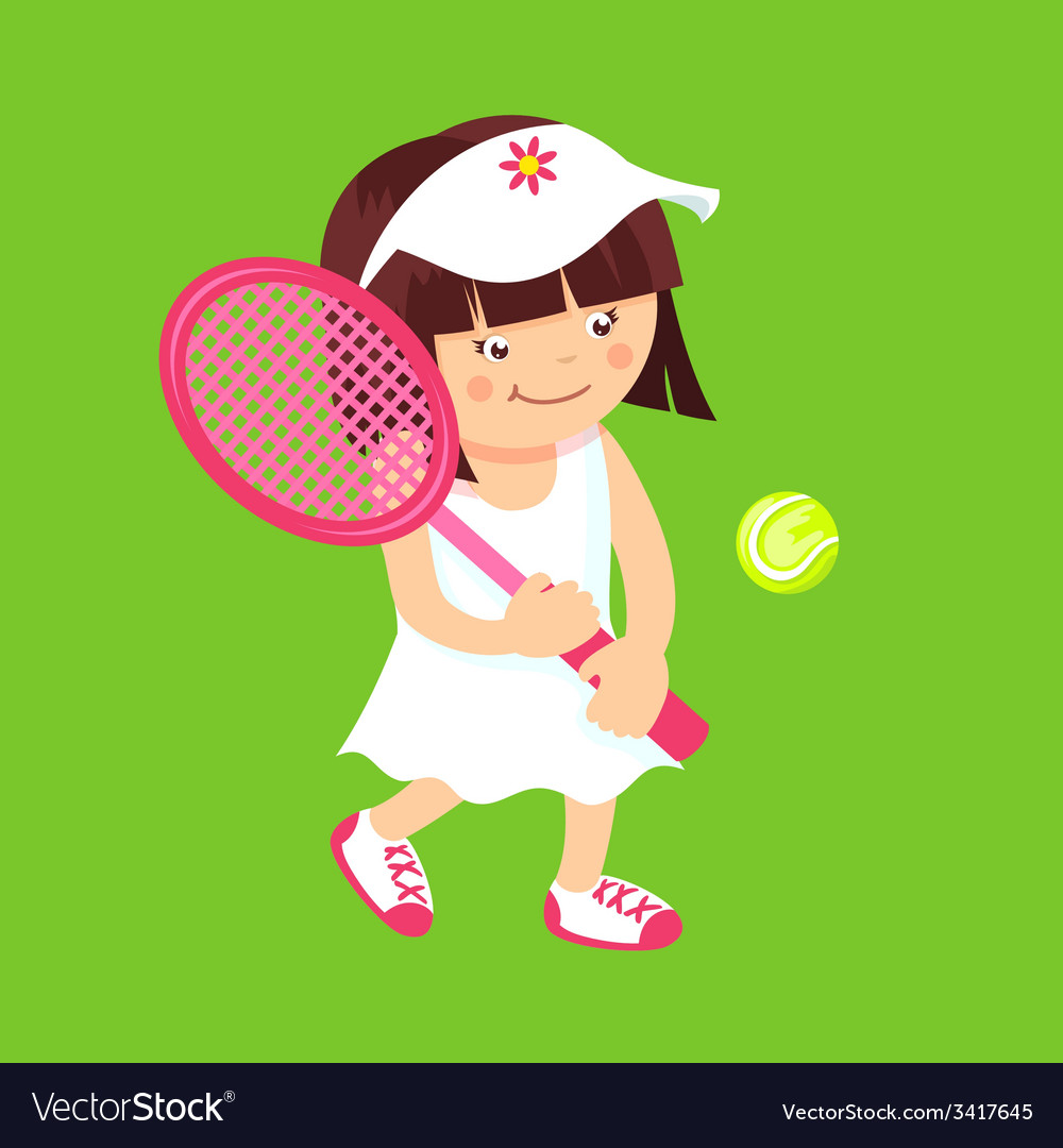 Girl with tennis racquet vector | Price: 1 Credit (USD $1)