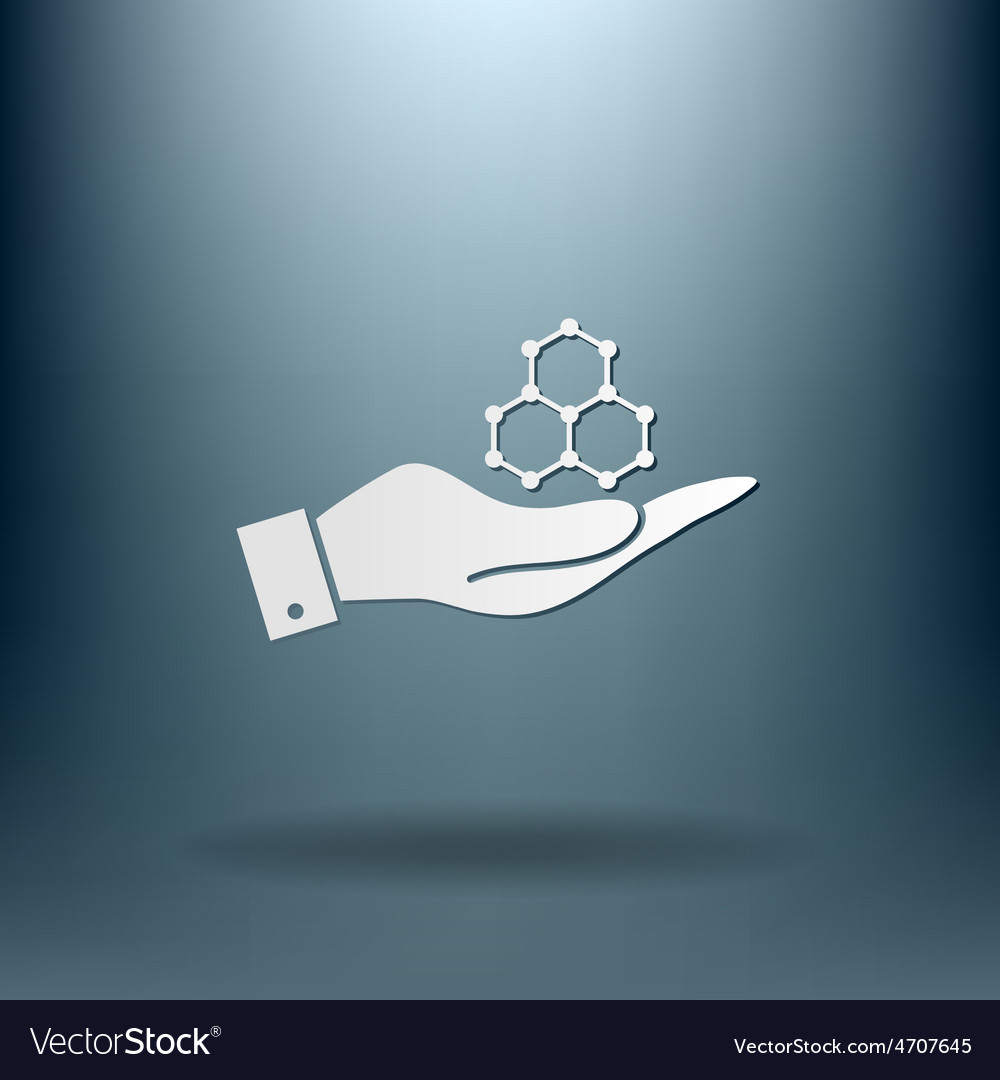 Hand holding a chemical compound symbol chemistry vector | Price: 1 Credit (USD $1)
