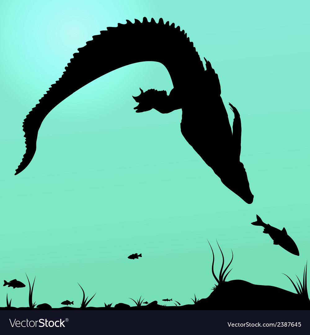 Hunting young crocodile vector | Price: 1 Credit (USD $1)