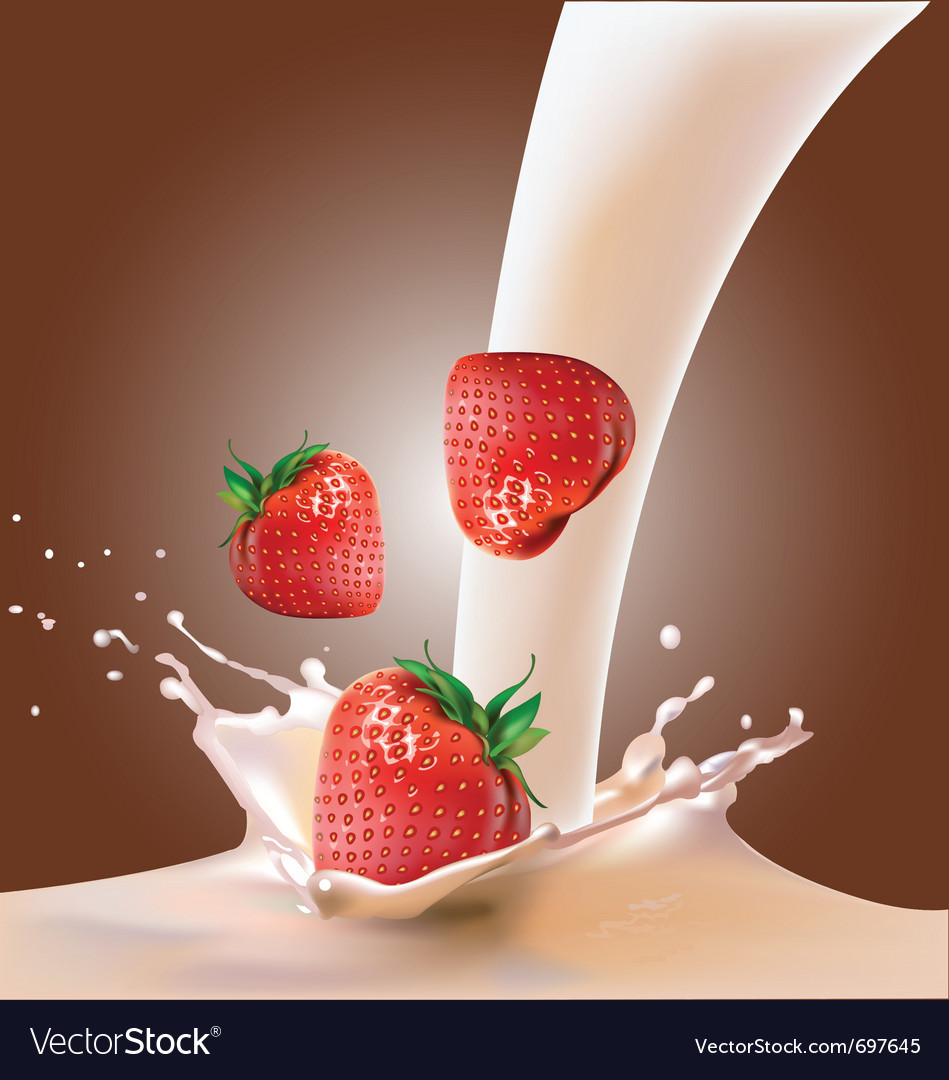 Milk and strawberries vector | Price: 3 Credit (USD $3)