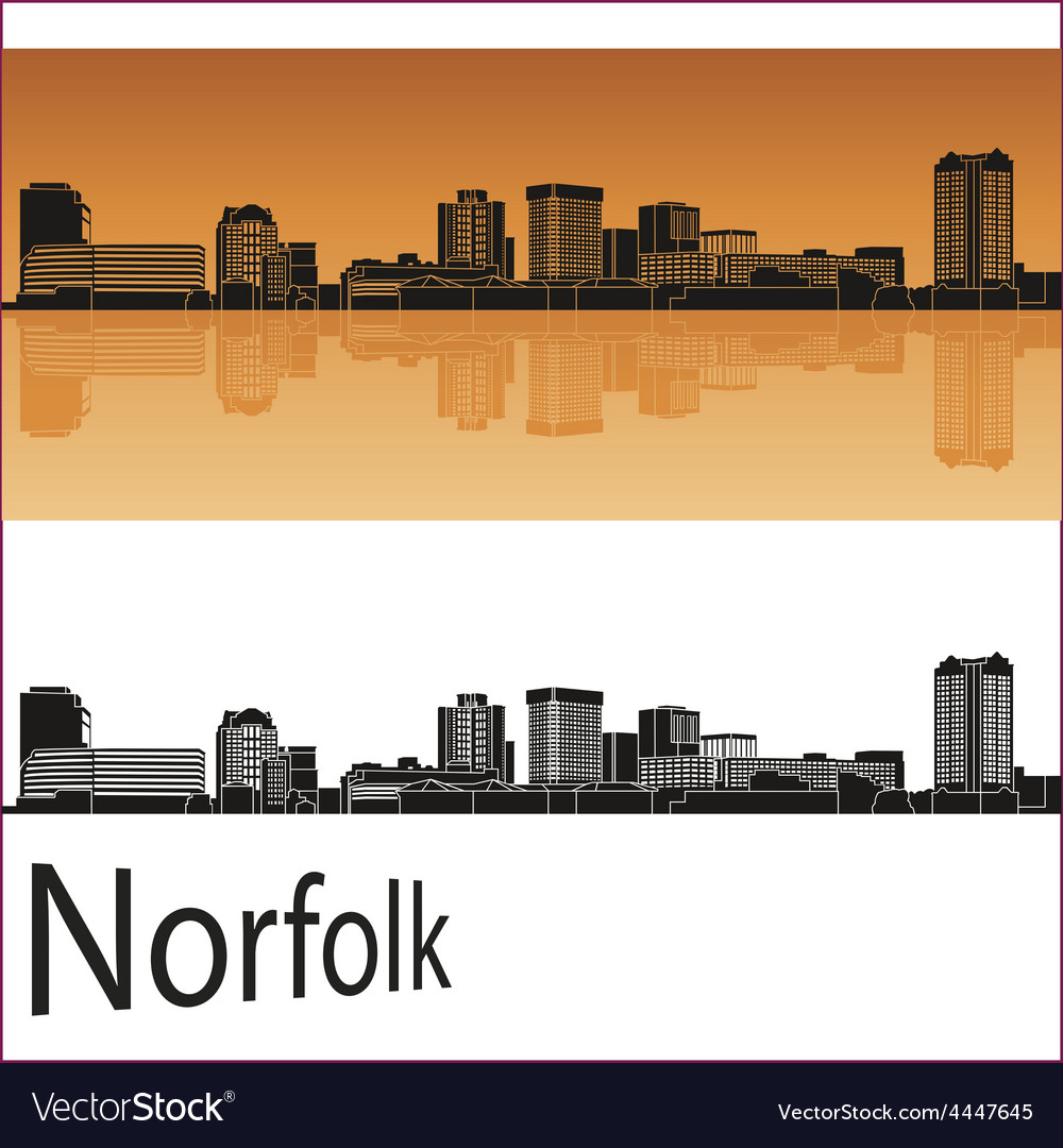 Norfolk skyline in orange background in editable vector | Price: 1 Credit (USD $1)