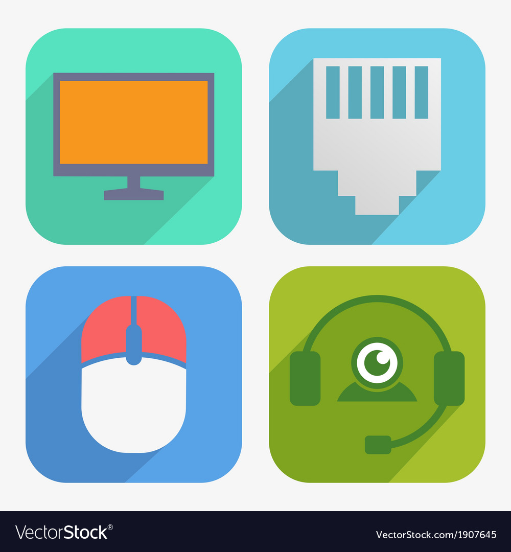 Office and business icons set in flat design vector | Price: 1 Credit (USD $1)