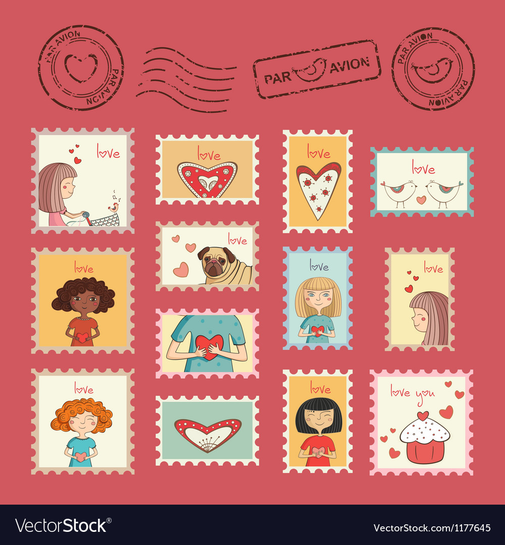 Post stamps valentine vector | Price: 3 Credit (USD $3)