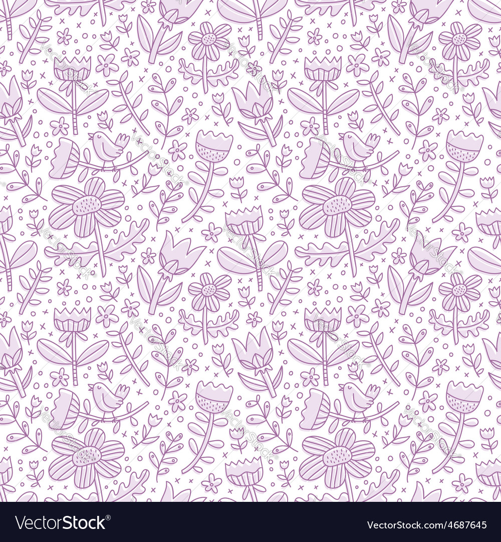 Purple floral seamless pattern vector | Price: 1 Credit (USD $1)