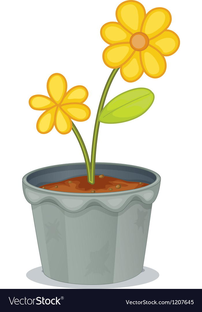 Yellow flower pot vector | Price: 1 Credit (USD $1)