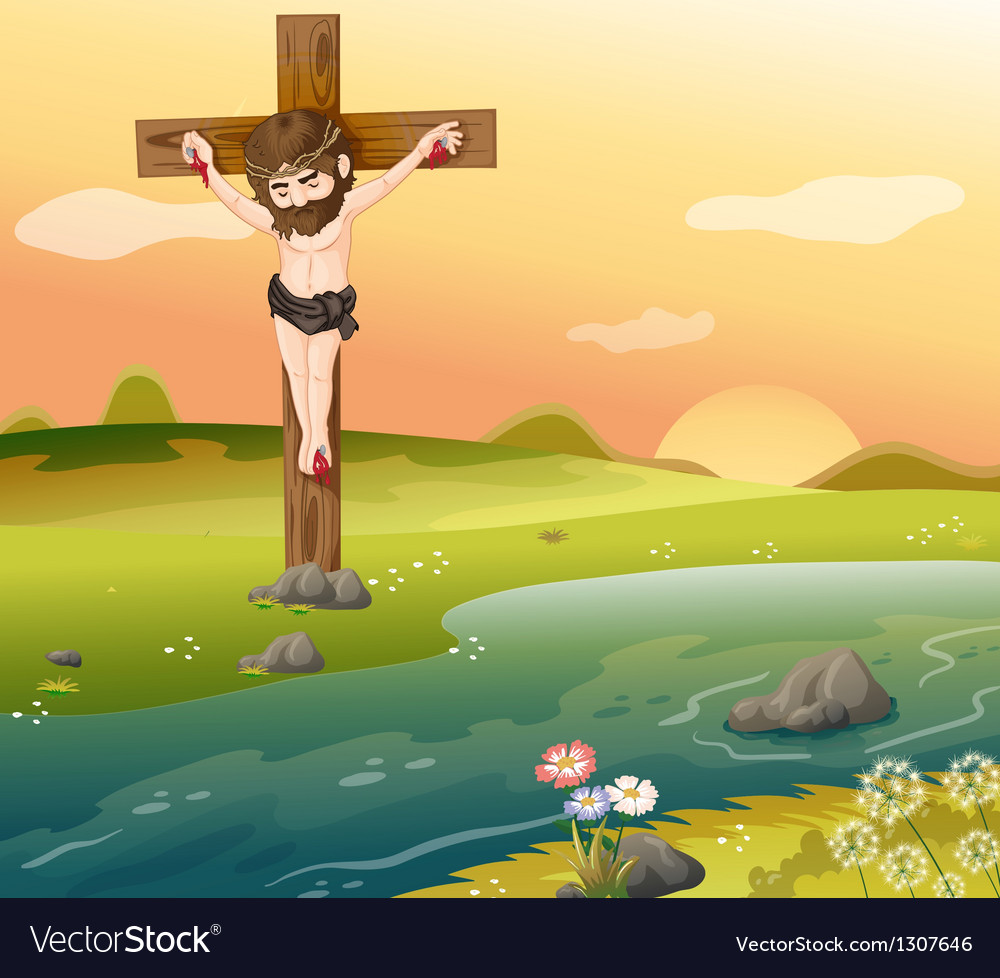 A cross at the riverside vector | Price: 1 Credit (USD $1)
