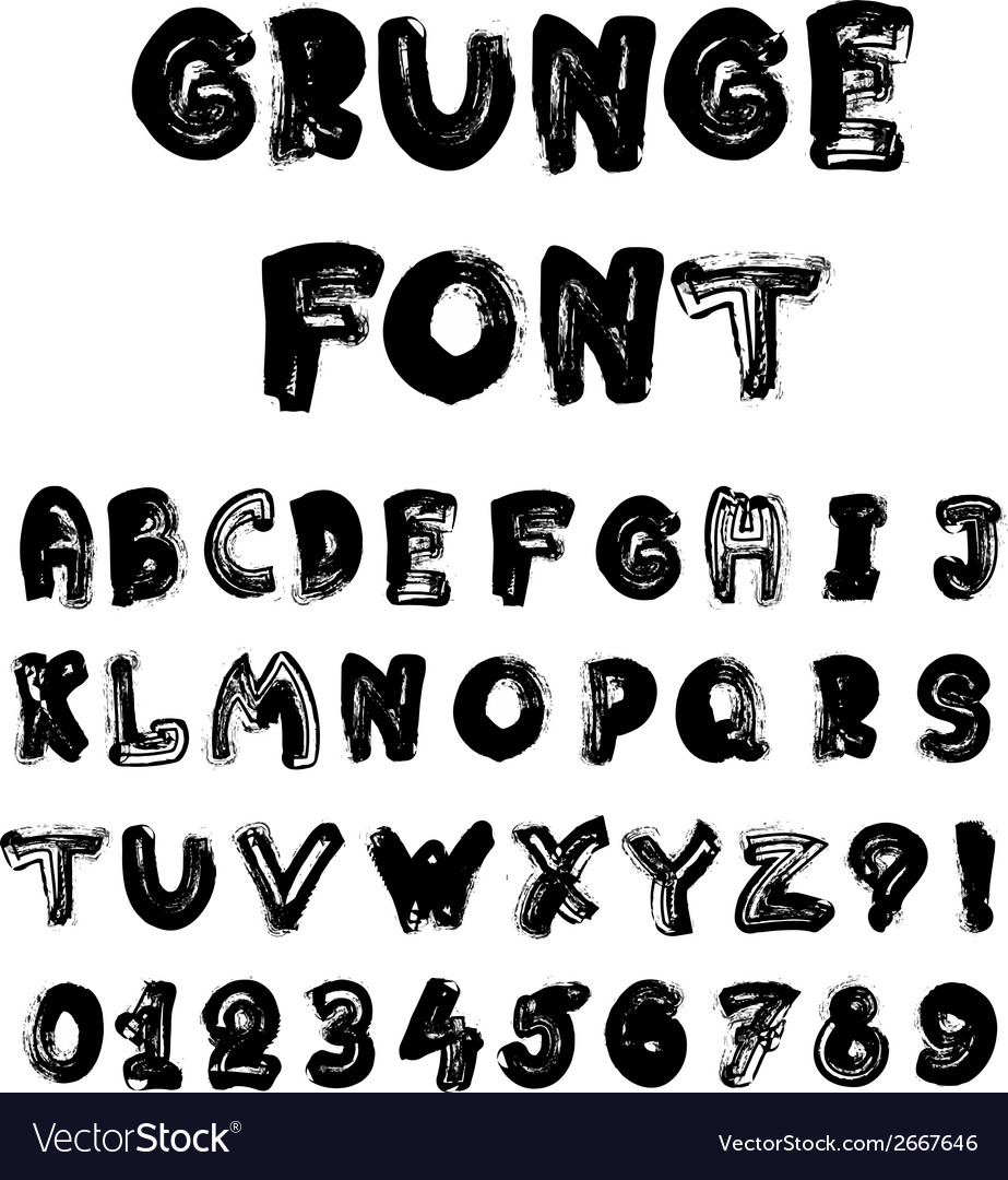 English alphabet in grunge style - coal imitation vector | Price: 1 Credit (USD $1)