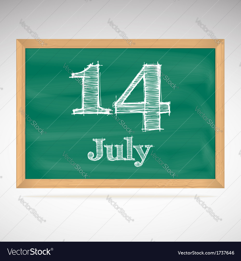 July 14 day calendar school board date vector | Price: 1 Credit (USD $1)