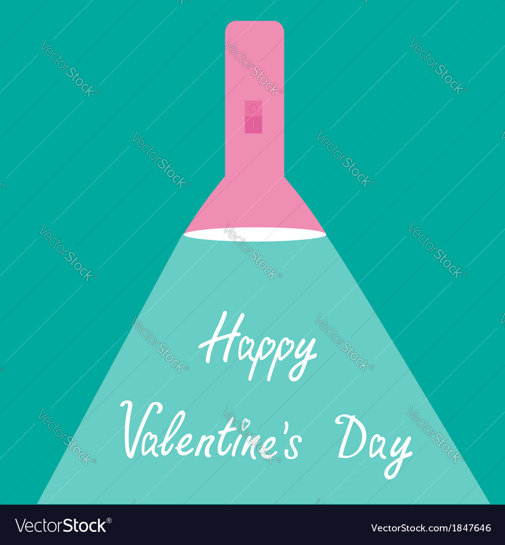 Pink flashlight with ray of light valentines day vector | Price: 1 Credit (USD $1)