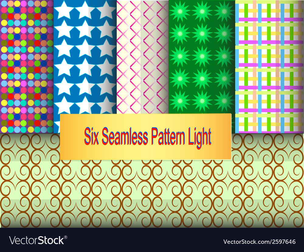 Six seamless pattern light vector | Price: 1 Credit (USD $1)