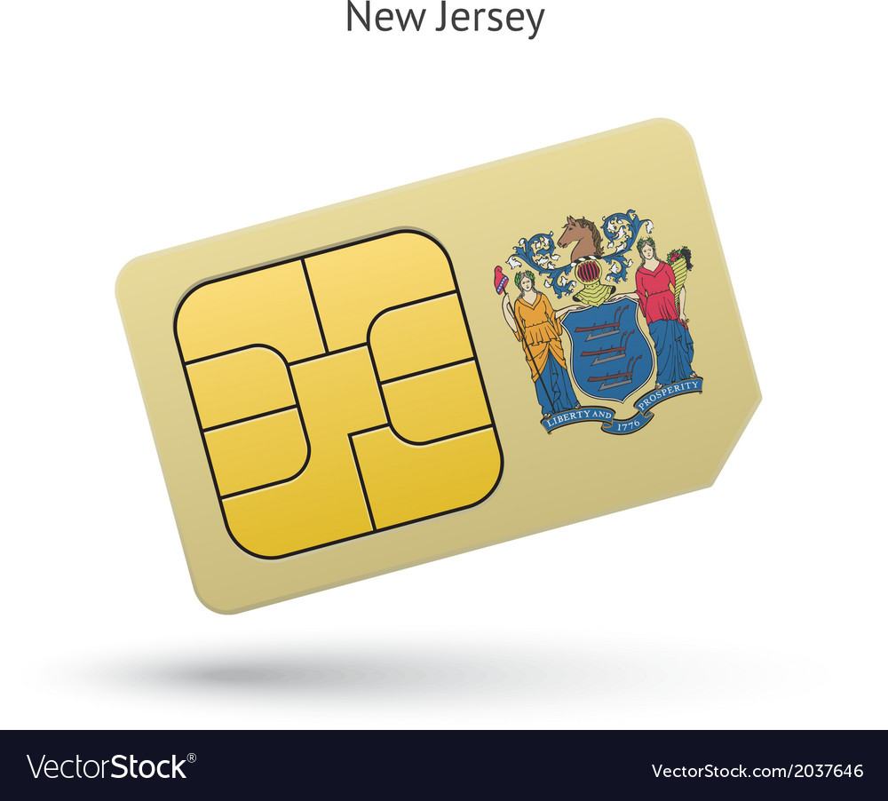 State of new jersey phone sim card with flag vector | Price: 1 Credit (USD $1)