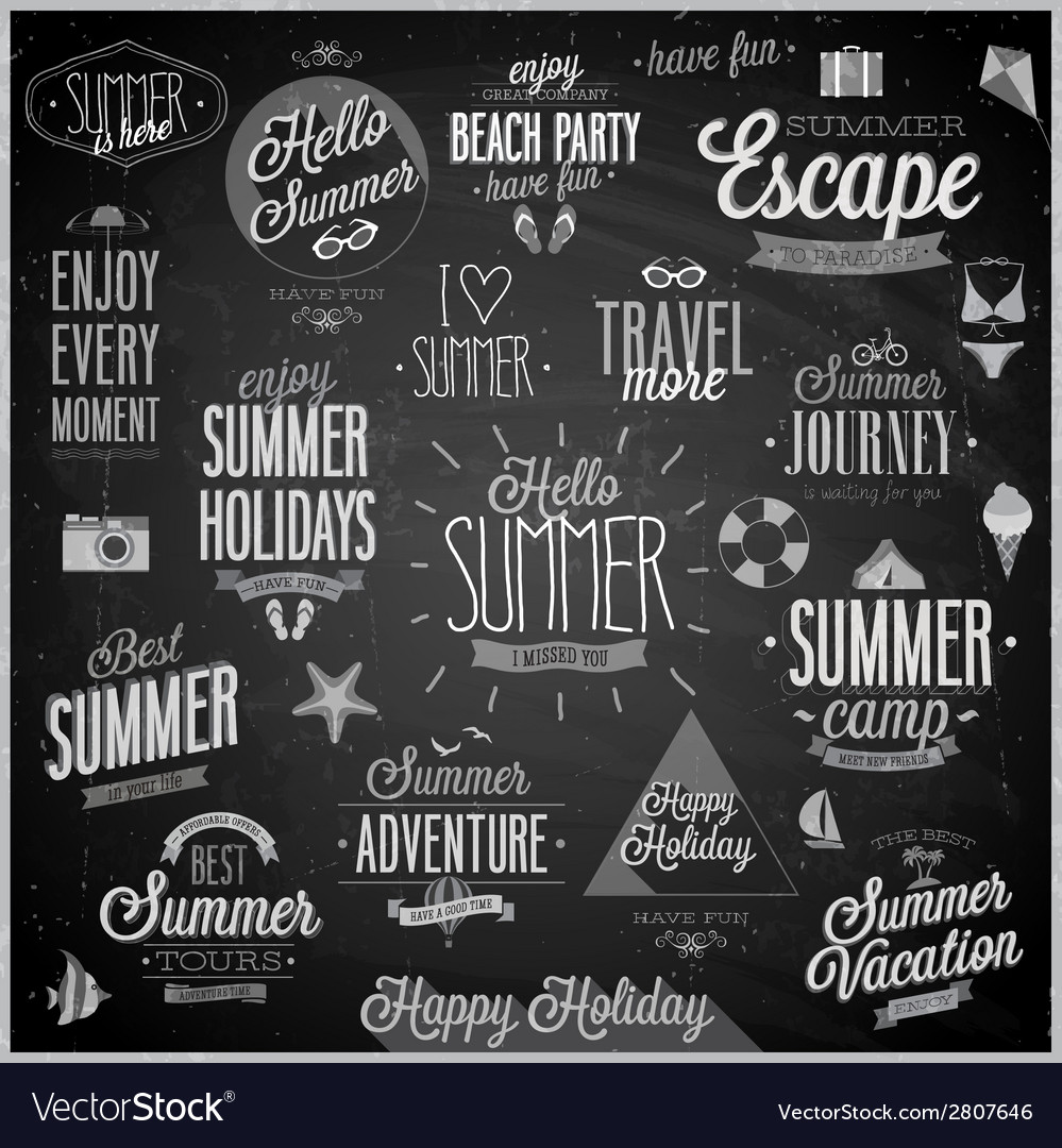 Summer chalkboard set vector | Price: 1 Credit (USD $1)